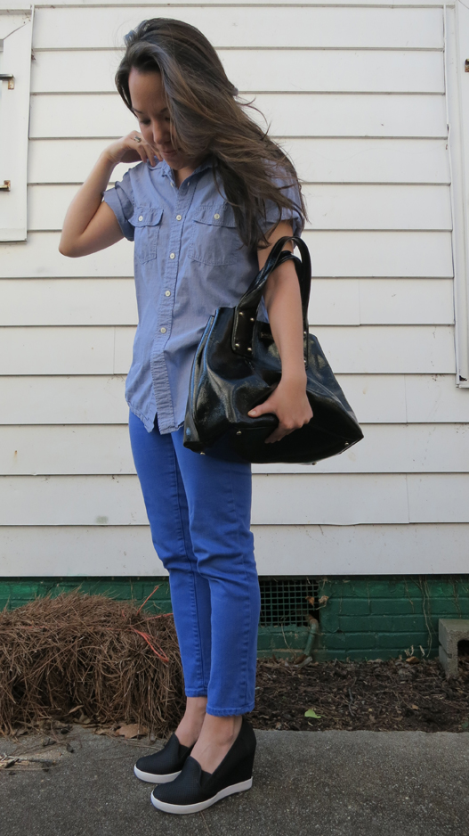 chambray and blue jeans