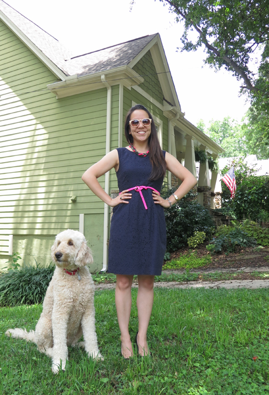JCrew dress with American Eagle belt