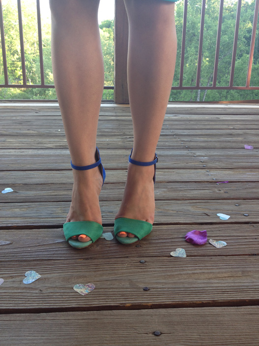 blue and turquoise heels